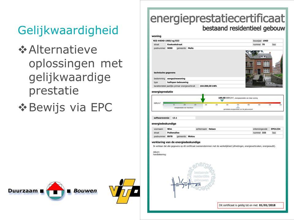 Gelijkwaardigheid Alternatieve oplossingen met gelijkwaardige prestatie Bewijs via EPC