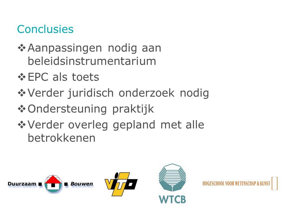 Conclusies Aanpassingen nodig aan beleidsinstrumentarium. EPC als toets. Verder juridisch onderzoek nodig.