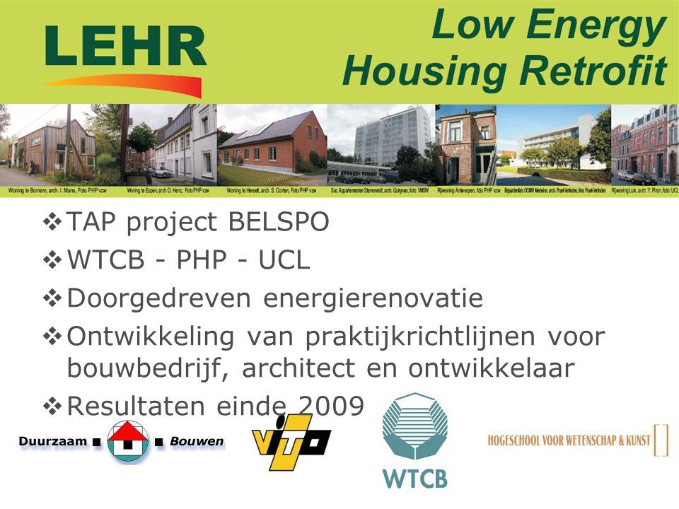 TAP project BELSPO WTCB - PHP - UCL. Doorgedreven energierenovatie.