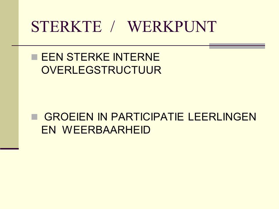 STERKTE / WERKPUNT EEN STERKE INTERNE OVERLEGSTRUCTUUR