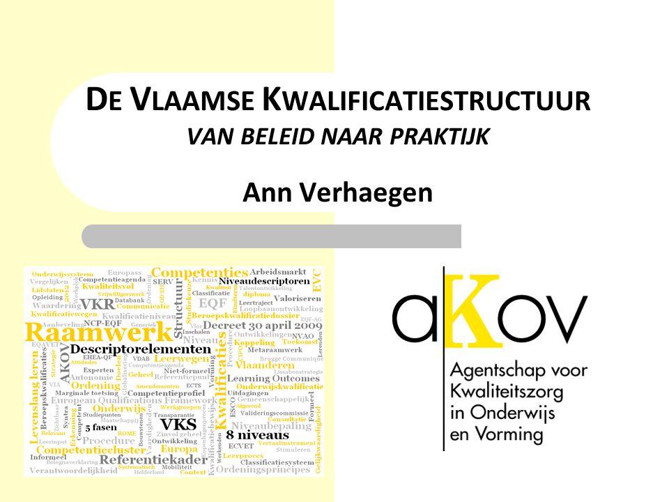 DE VLAAMSE KWALIFICATIESTRUCTUUR VAN BELEID NAAR PRAKTIJK Ann Verhaegen