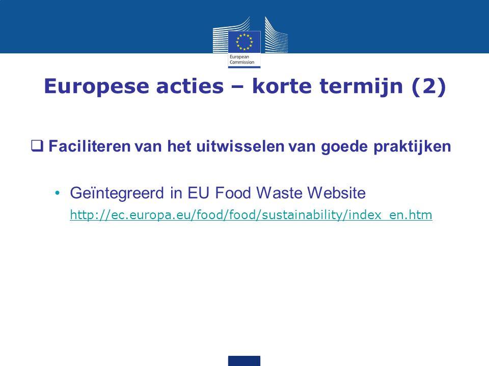 Europese acties – korte termijn (2)