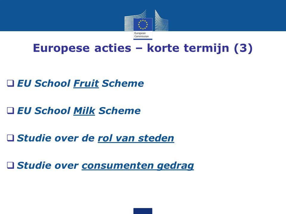 Europese acties – korte termijn (3)