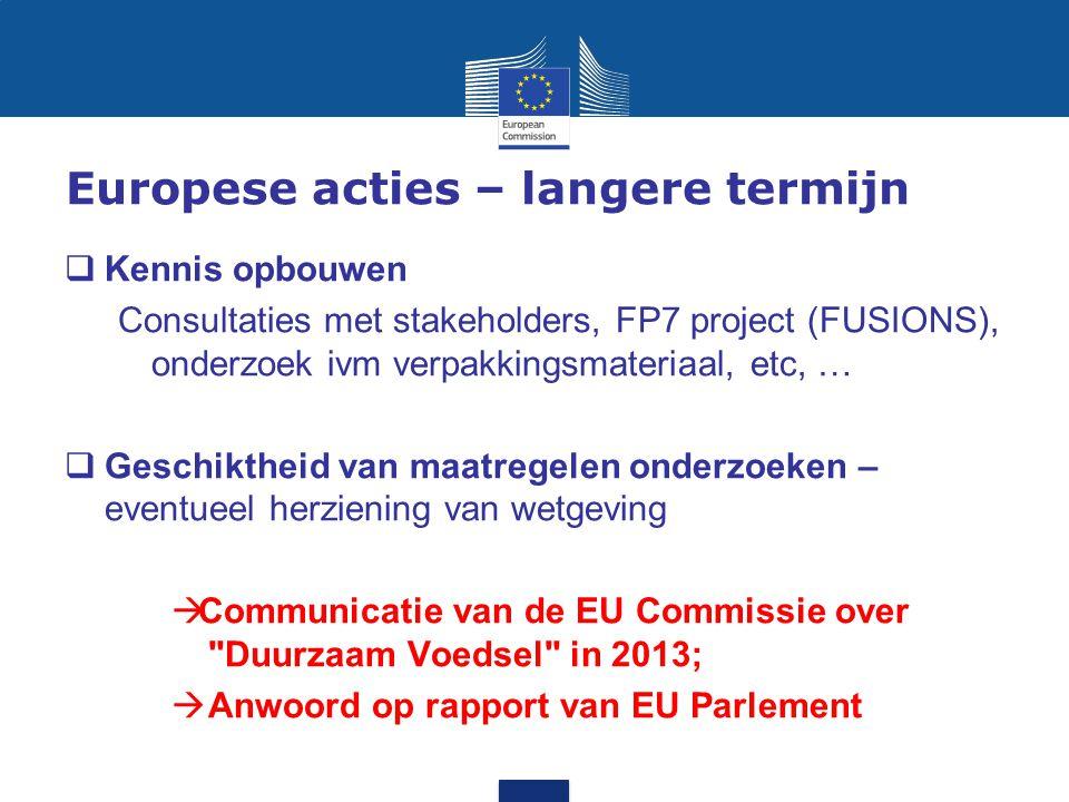 Europese acties – langere termijn