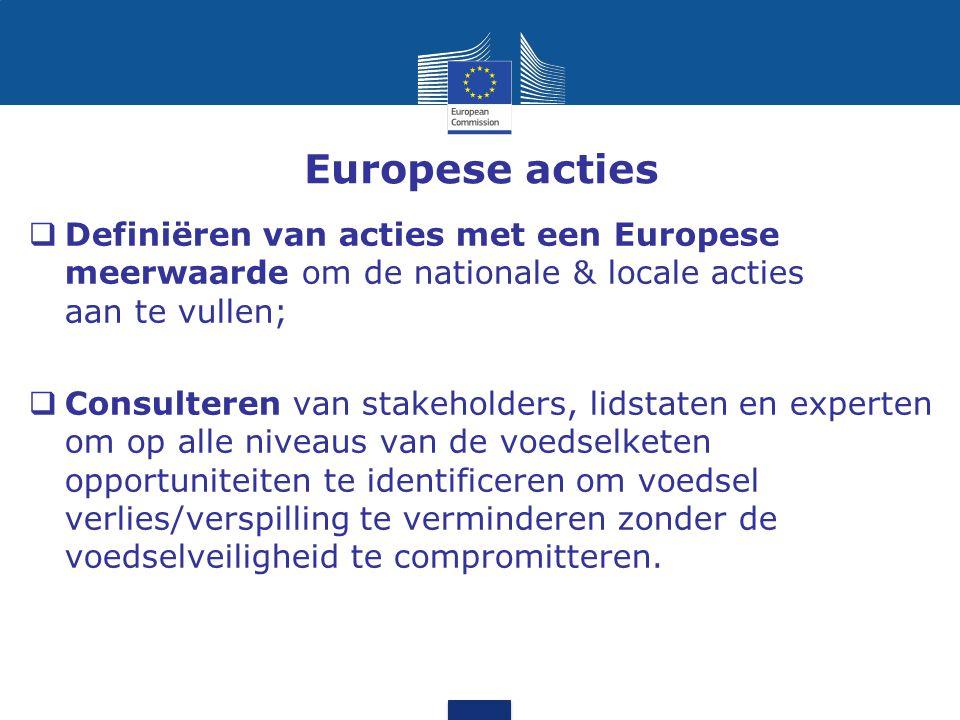 Europese acties Definiëren van acties met een Europese meerwaarde om de nationale & locale acties aan te vullen;