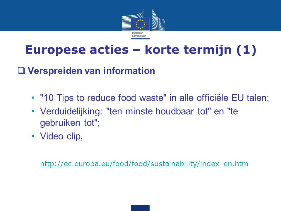 Europese acties – korte termijn (1)