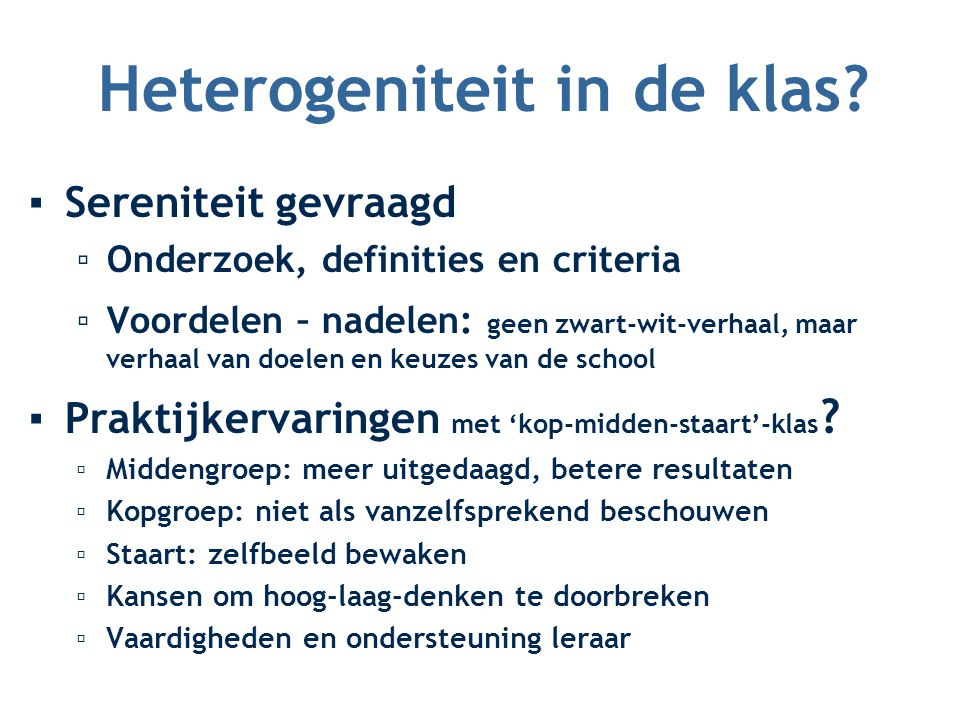 Heterogeniteit in de klas