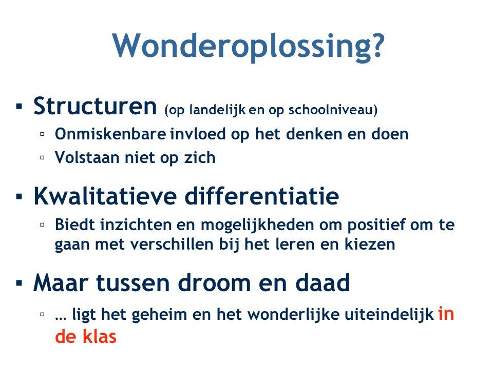 Wonderoplossing Structuren (op landelijk en op schoolniveau)