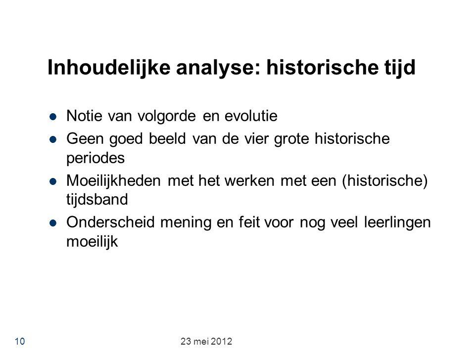 Inhoudelijke analyse: historische tijd