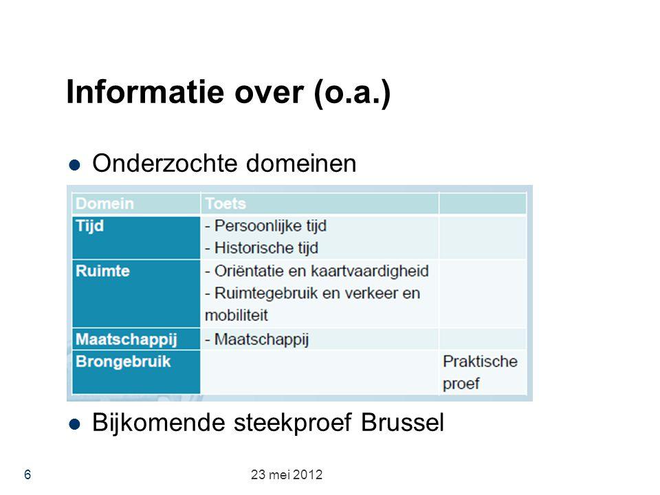 Informatie over (o.a.) Onderzochte domeinen