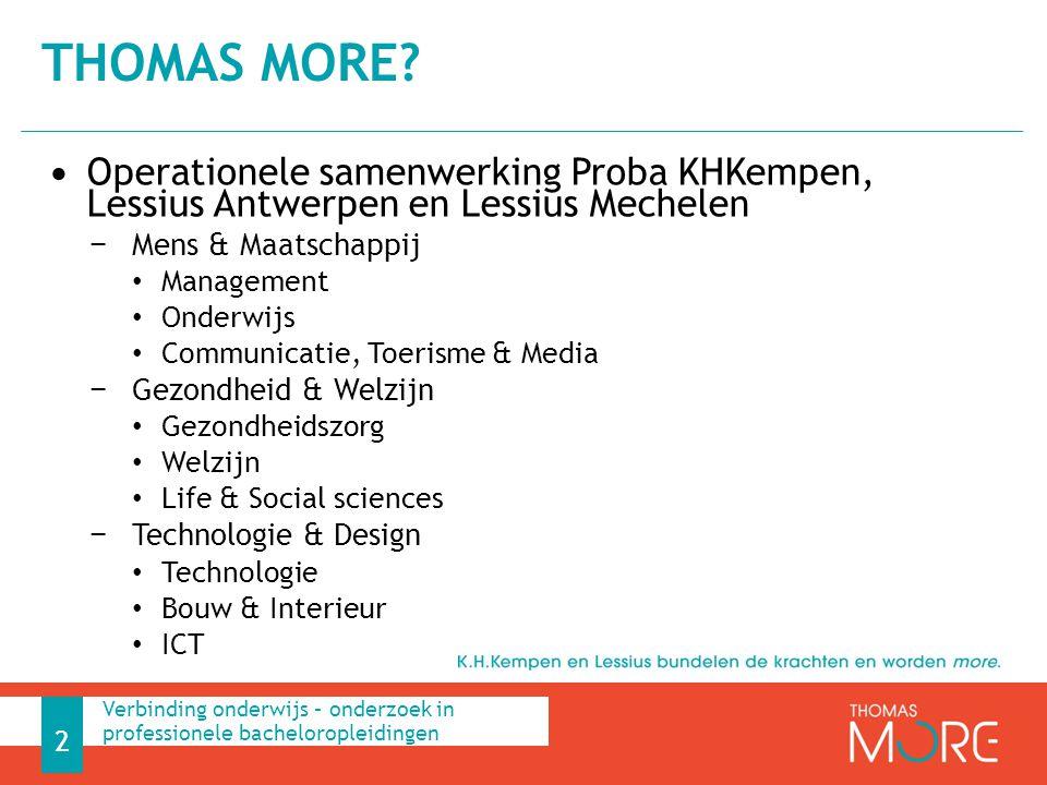 Thomas More Operationele samenwerking Proba KHKempen, Lessius Antwerpen en Lessius Mechelen. Mens & Maatschappij.
