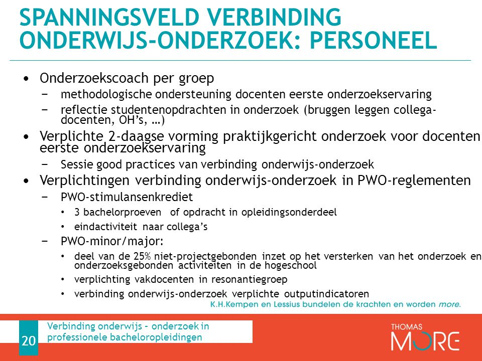 Spanningsveld Verbinding onderwijs-onderzoek: personeel