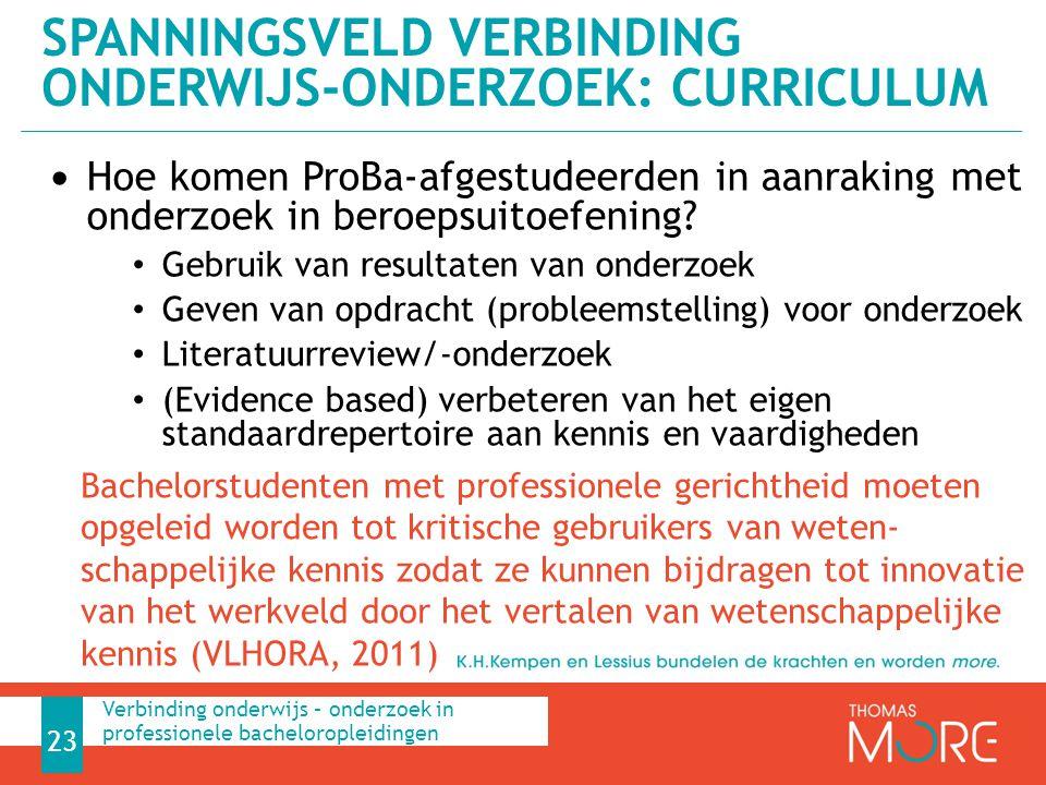 Spanningsveld Verbinding onderwijs-onderzoek: curriculum