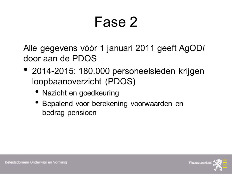 Fase 2 Alle gegevens vóór 1 januari 2011 geeft AgODi door aan de PDOS