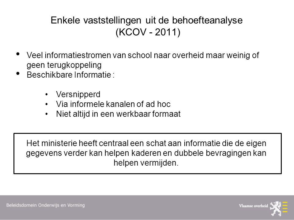 Enkele vaststellingen uit de behoefteanalyse (KCOV - 2011)