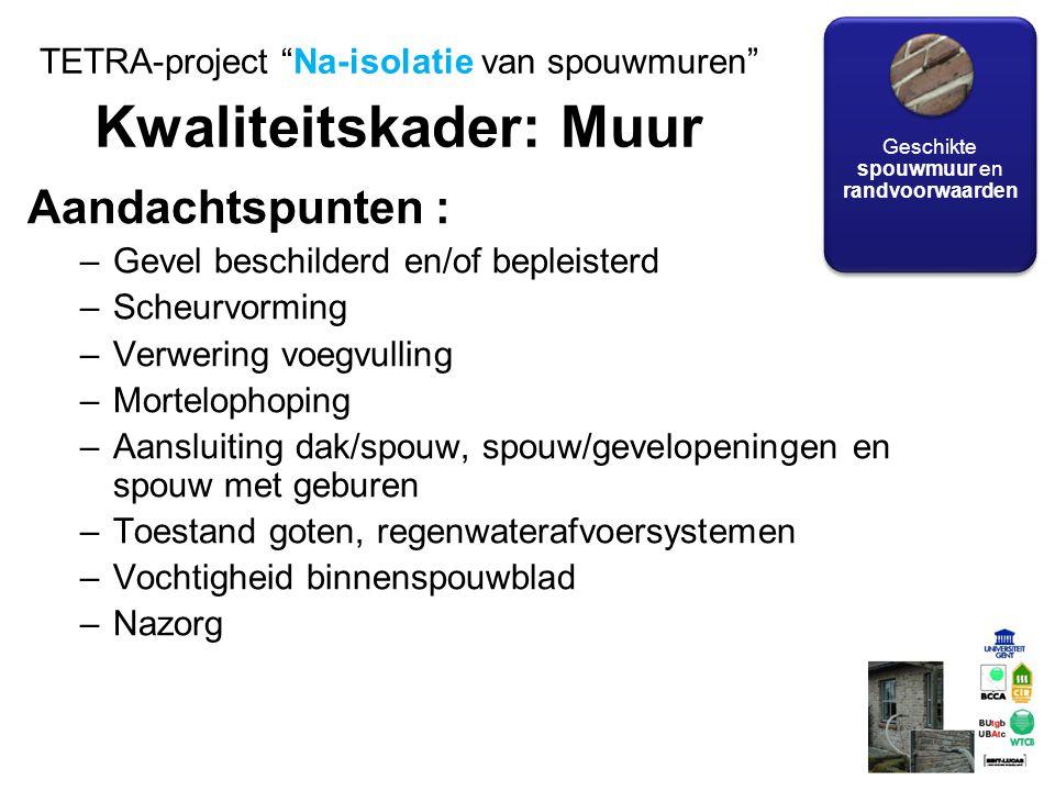 TETRA-project Na-isolatie van spouwmuren Kwaliteitskader: Muur