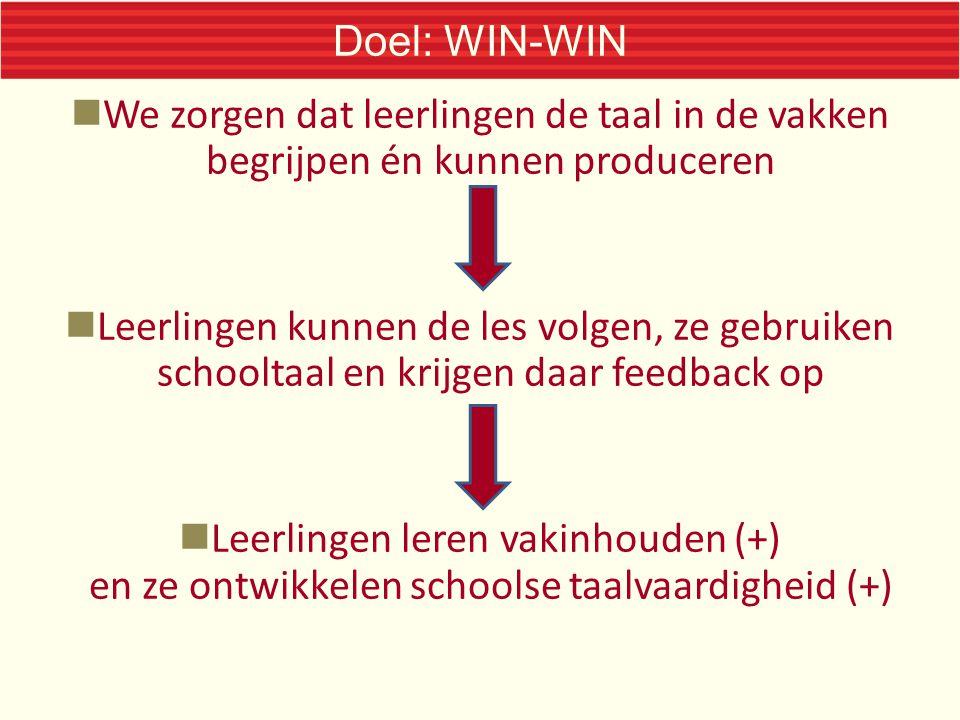 Doel: WIN-WIN We zorgen dat leerlingen de taal in de vakken begrijpen én kunnen produceren.