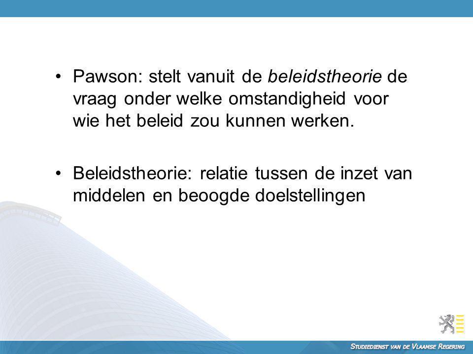 Pawson: stelt vanuit de beleidstheorie de vraag onder welke omstandigheid voor wie het beleid zou kunnen werken.