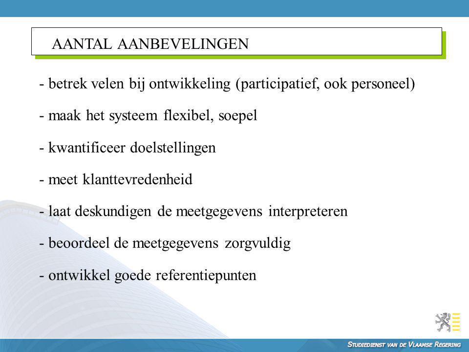 AANTAL AANBEVELINGEN - betrek velen bij ontwikkeling (participatief, ook personeel) - maak het systeem flexibel, soepel.