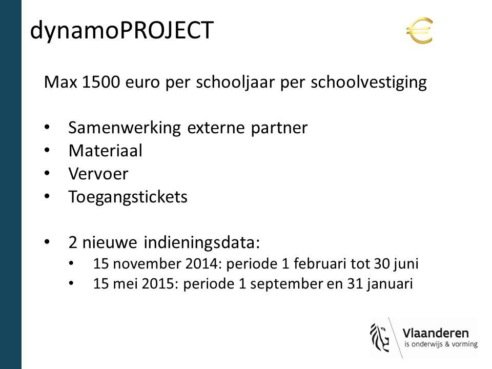 dynamoPROJECT Max 1500 euro per schooljaar per schoolvestiging