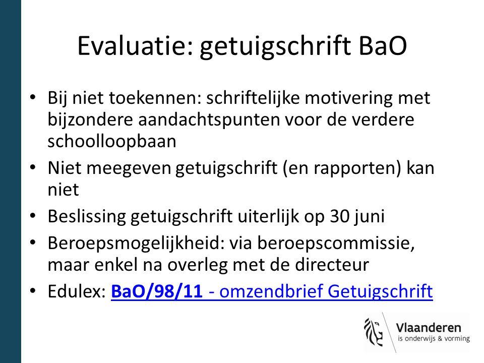 Evaluatie: getuigschrift BaO