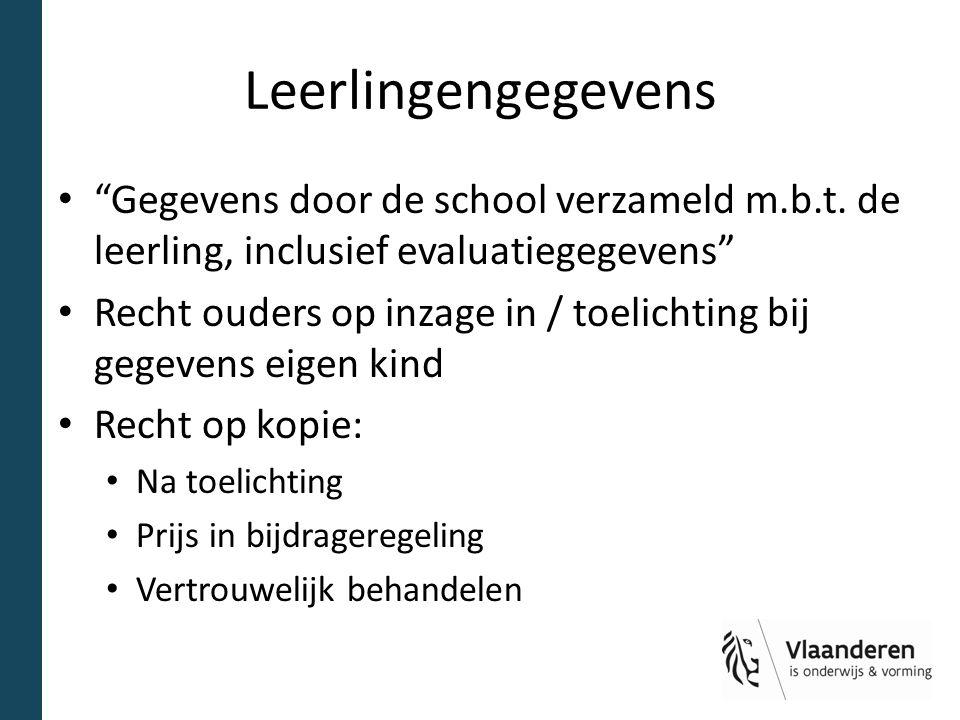 Leerlingengegevens Gegevens door de school verzameld m.b.t. de leerling, inclusief evaluatiegegevens