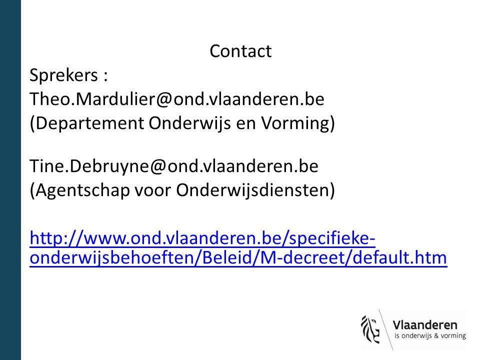 Contact Sprekers : Theo. Mardulier@ond. vlaanderen