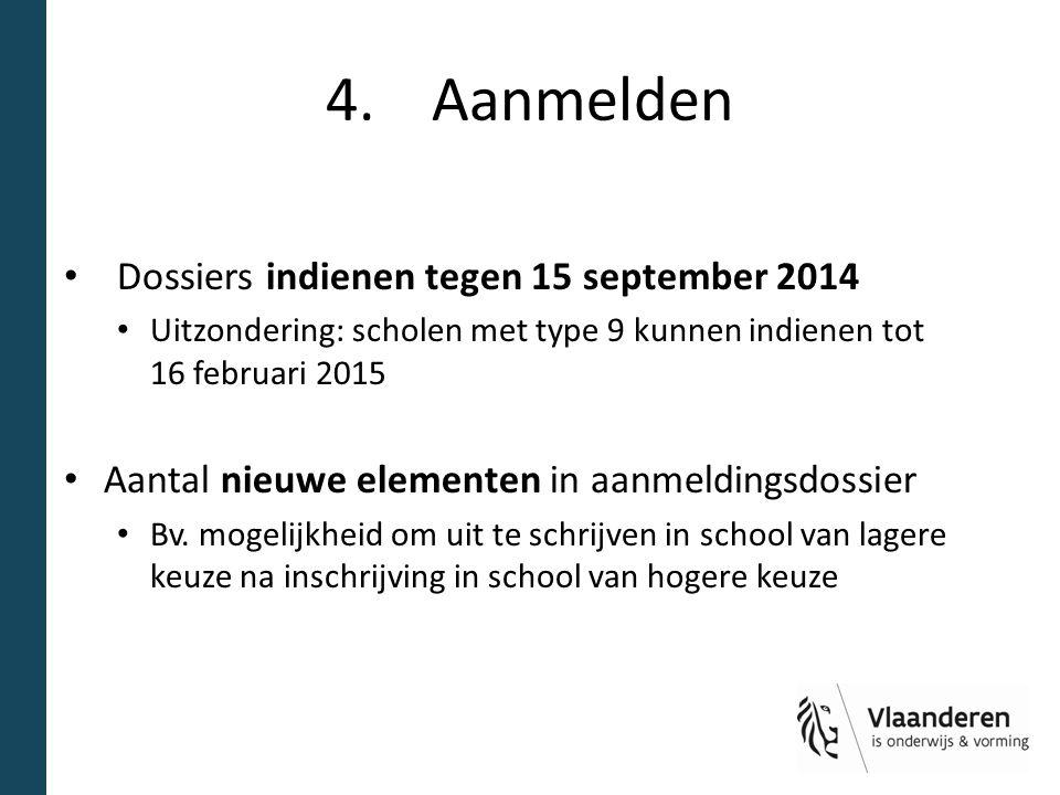 4. Aanmelden Dossiers indienen tegen 15 september 2014