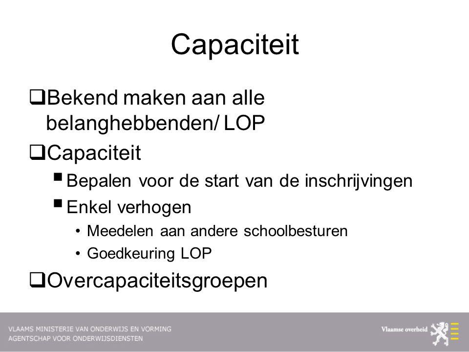 Capaciteit Bekend maken aan alle belanghebbenden/ LOP Capaciteit