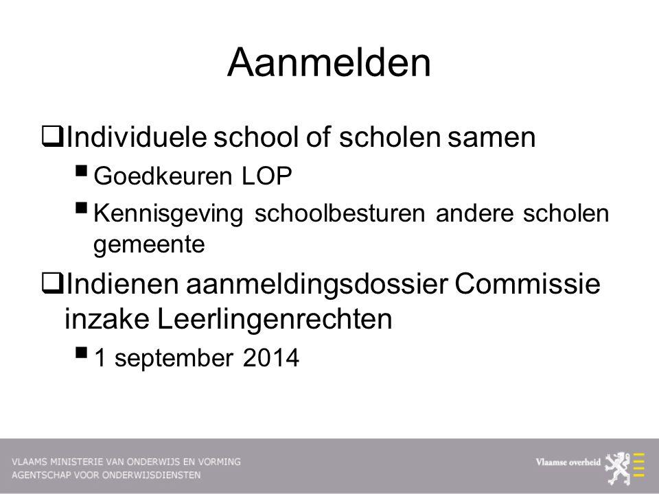Aanmelden Individuele school of scholen samen