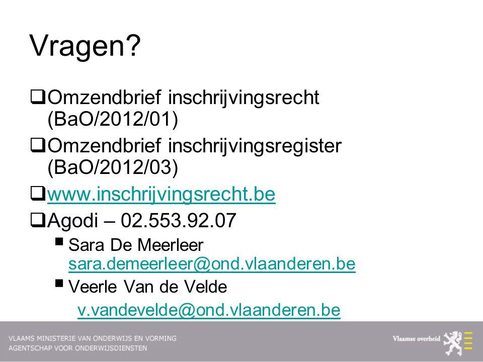 Vragen Omzendbrief inschrijvingsrecht (BaO/2012/01)
