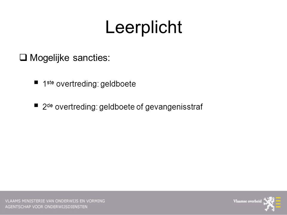 Leerplicht Mogelijke sancties: 1ste overtreding: geldboete