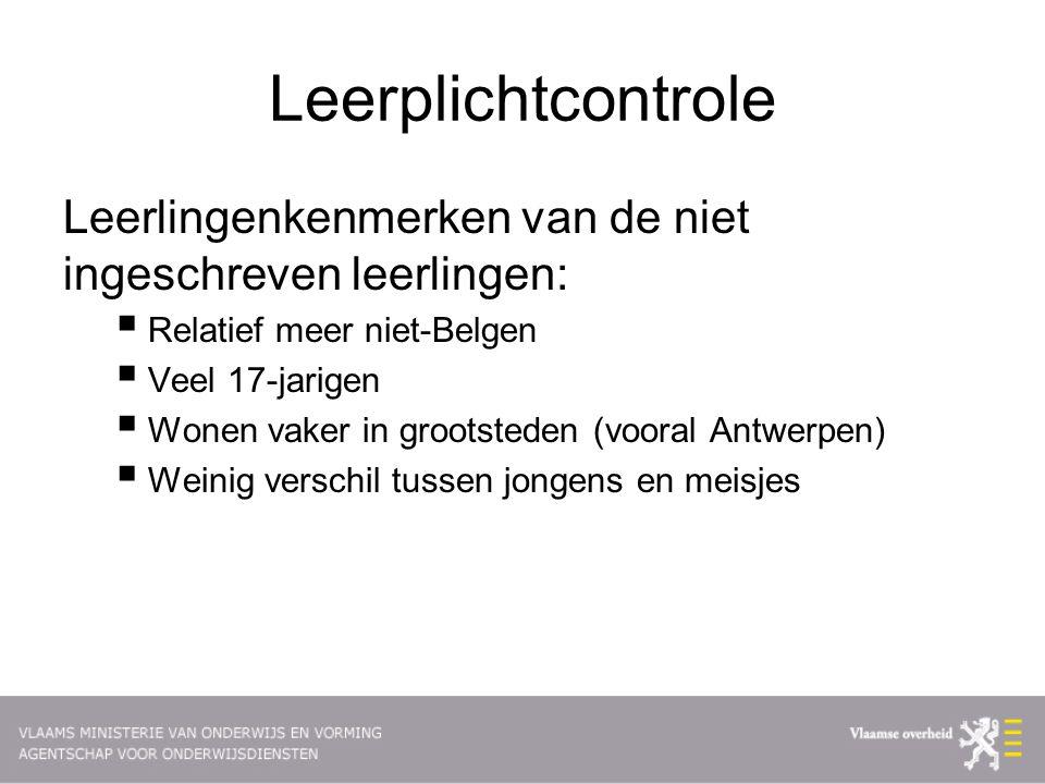 Leerplichtcontrole Leerlingenkenmerken van de niet ingeschreven leerlingen: Relatief meer niet-Belgen.