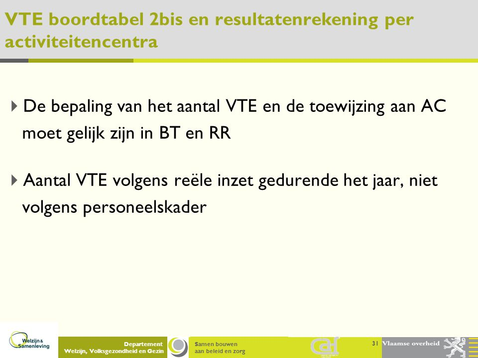 VTE boordtabel 2bis en resultatenrekening per activiteitencentra