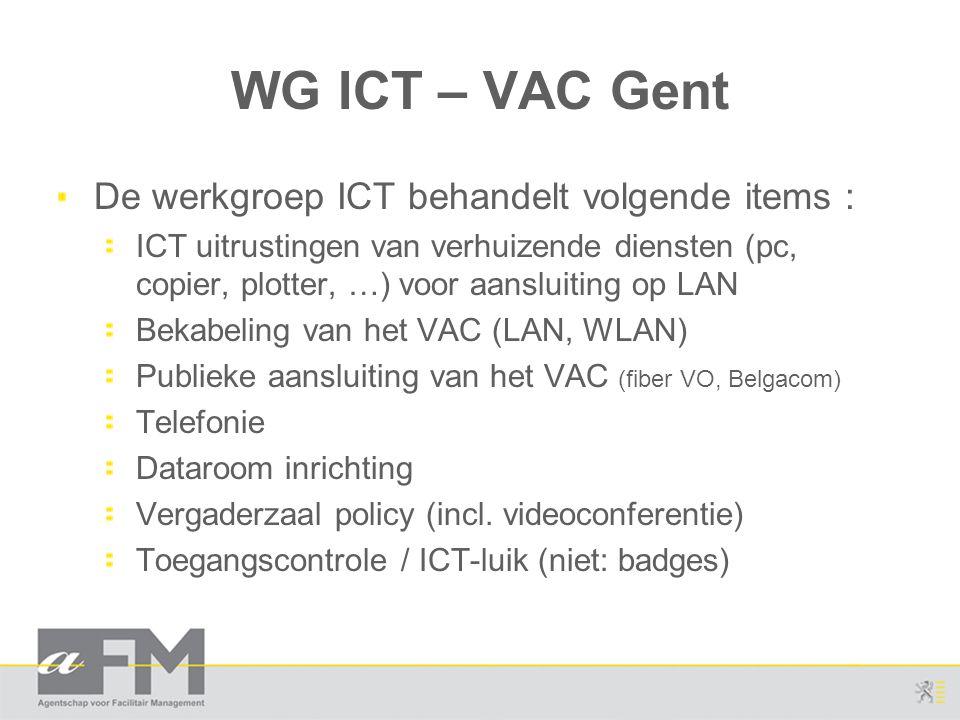 WG ICT – VAC Gent De werkgroep ICT behandelt volgende items :