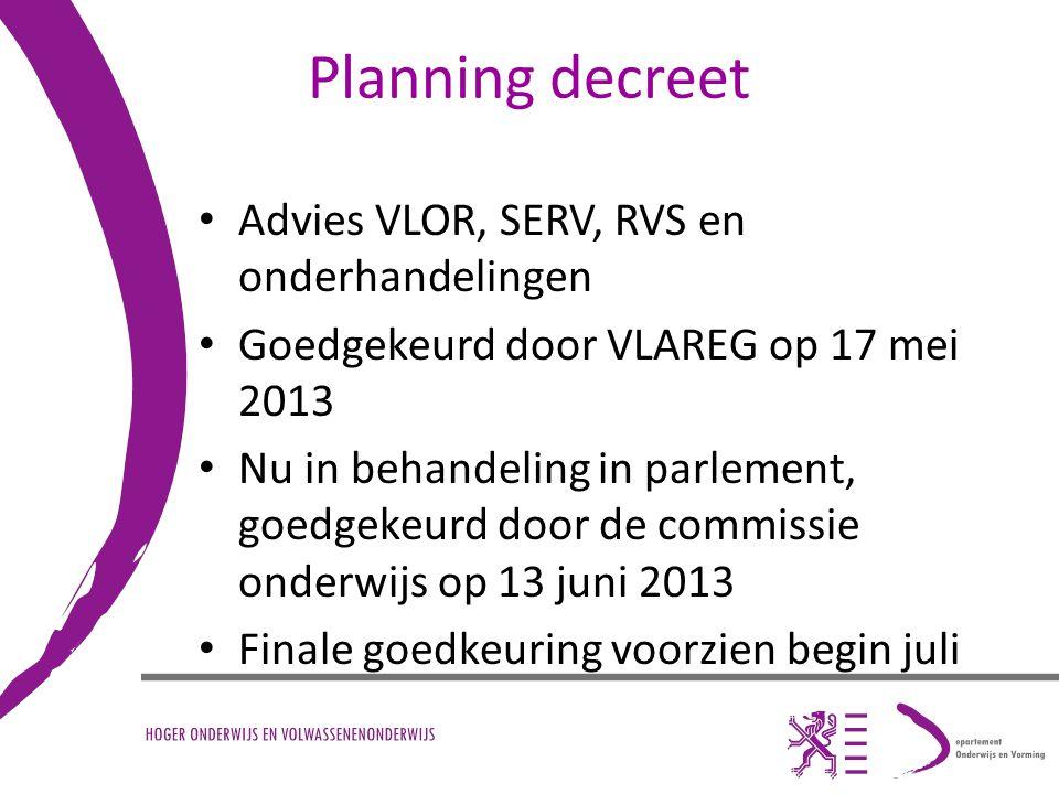 Planning decreet Advies VLOR, SERV, RVS en onderhandelingen