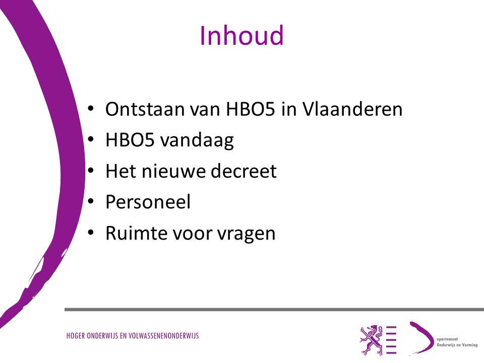 Inhoud Ontstaan van HBO5 in Vlaanderen HBO5 vandaag Het nieuwe decreet