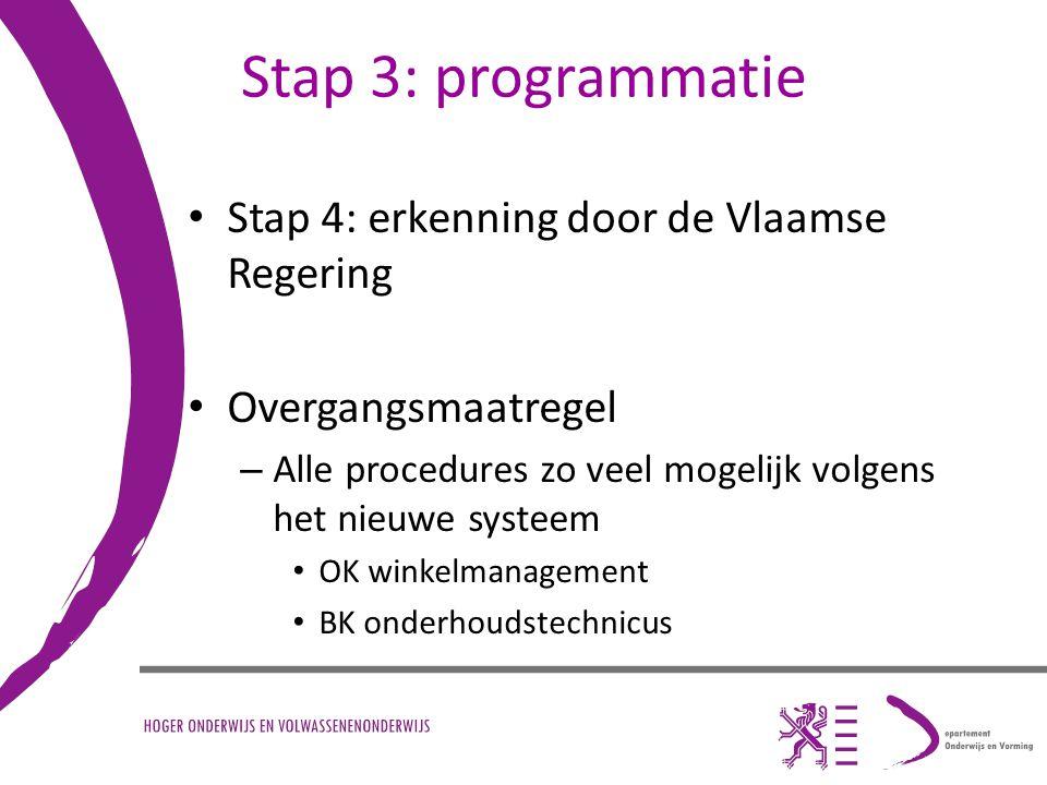 Stap 3: programmatie Stap 4: erkenning door de Vlaamse Regering