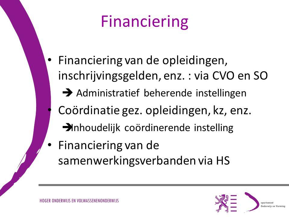 Financiering Financiering van de opleidingen, inschrijvingsgelden, enz. : via CVO en SO.  Administratief beherende instellingen.