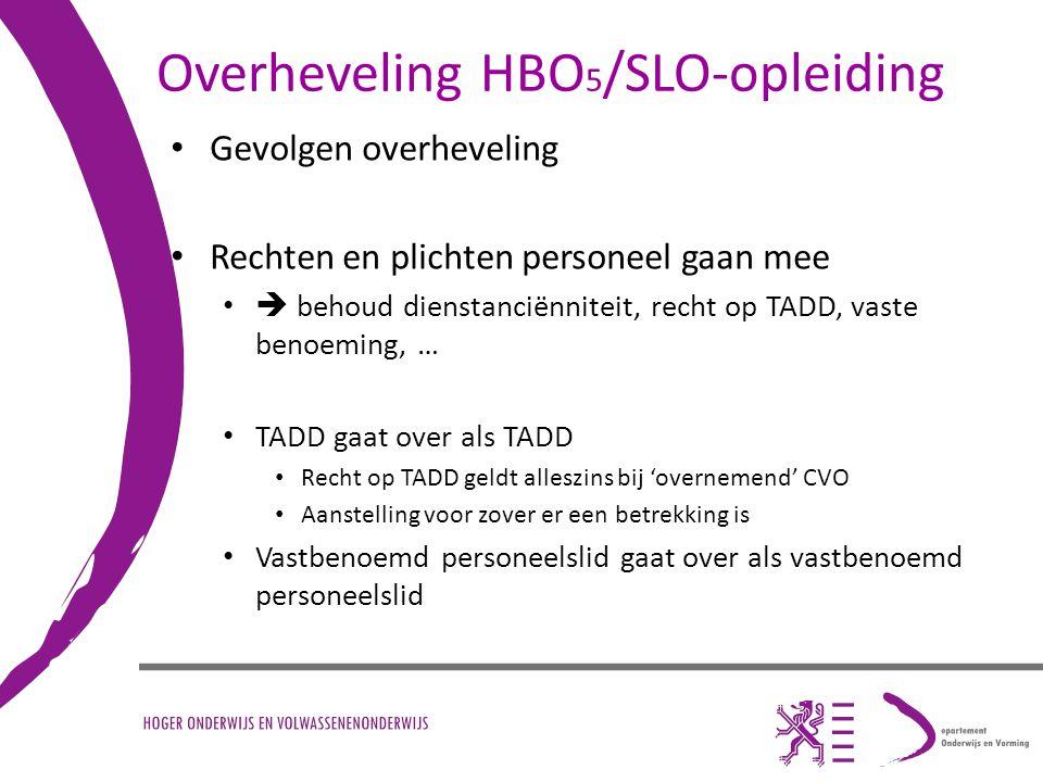 Overheveling HBO5/SLO-opleiding