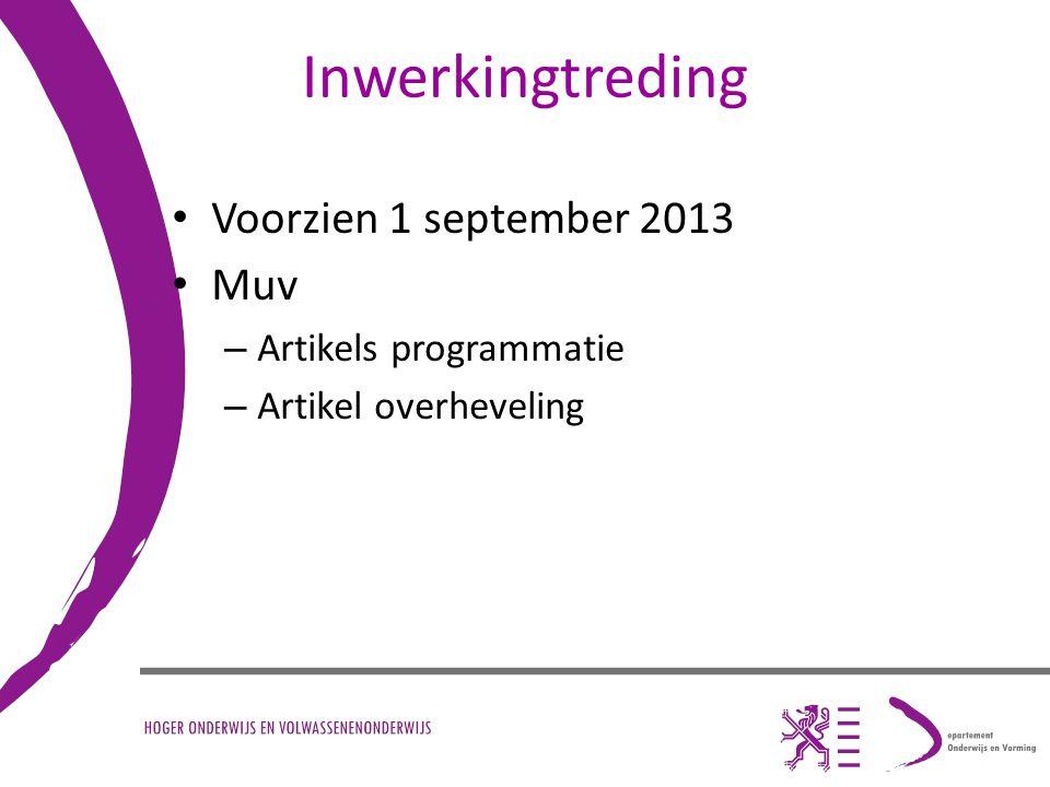 Inwerkingtreding Voorzien 1 september 2013 Muv Artikels programmatie