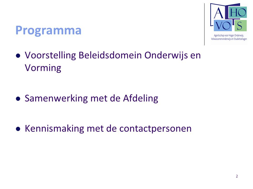 Programma Voorstelling Beleidsdomein Onderwijs en Vorming