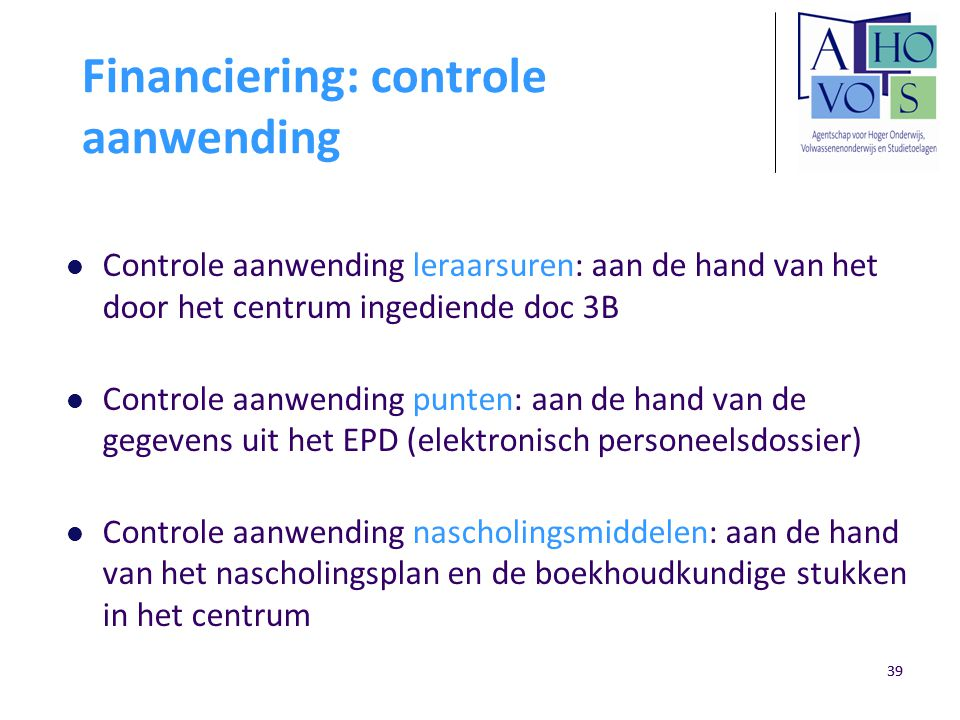 Financiering: controle aanwending