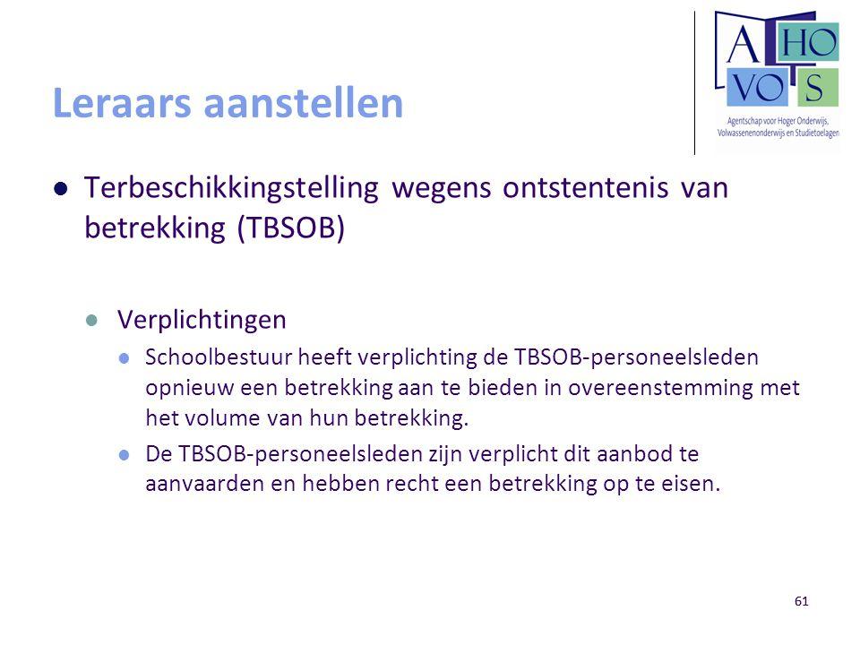 Leraars aanstellen Terbeschikkingstelling wegens ontstentenis van betrekking (TBSOB) Verplichtingen.
