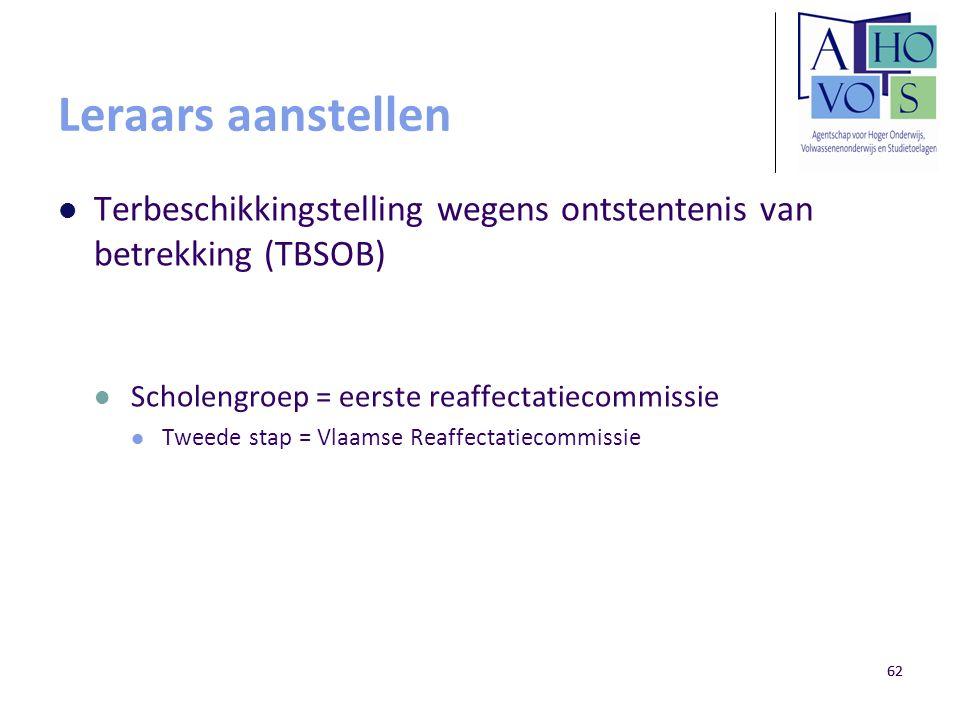 Leraars aanstellen Terbeschikkingstelling wegens ontstentenis van betrekking (TBSOB) Scholengroep = eerste reaffectatiecommissie.