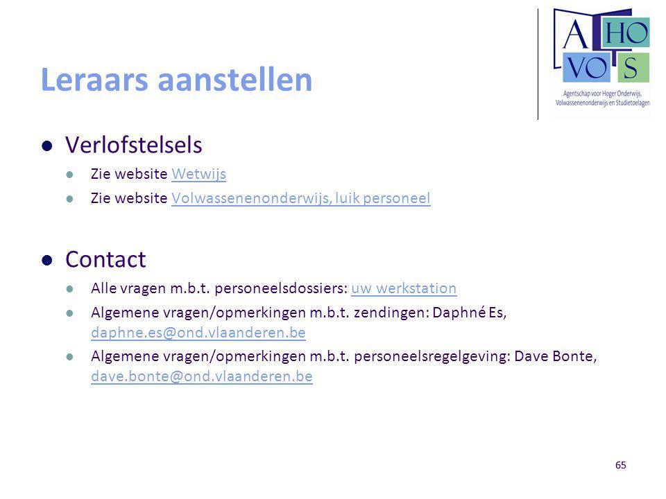 Leraars aanstellen Verlofstelsels Contact Zie website Wetwijs