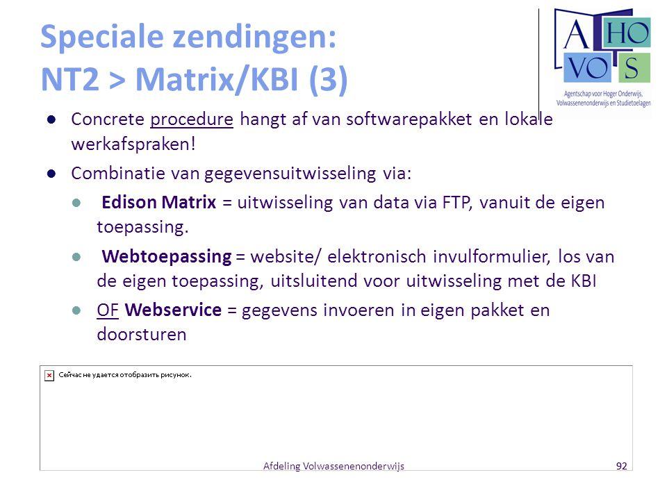 Speciale zendingen: NT2 > Matrix/KBI (3)