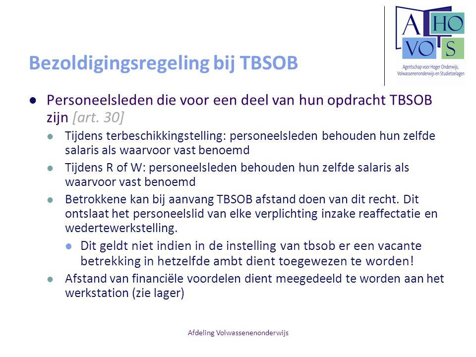 Bezoldigingsregeling bij TBSOB