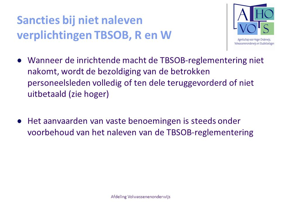 Sancties bij niet naleven verplichtingen TBSOB, R en W