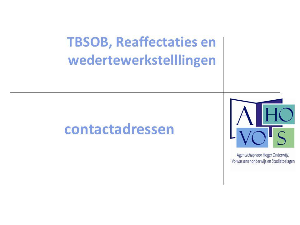 TBSOB, Reaffectaties en wedertewerkstelllingen